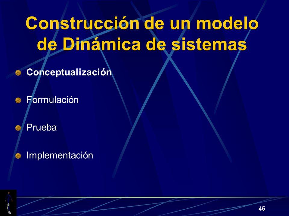 45 Construcción de un modelo de Dinámica de sistemas Conceptualización Formulación Prueba Implementación