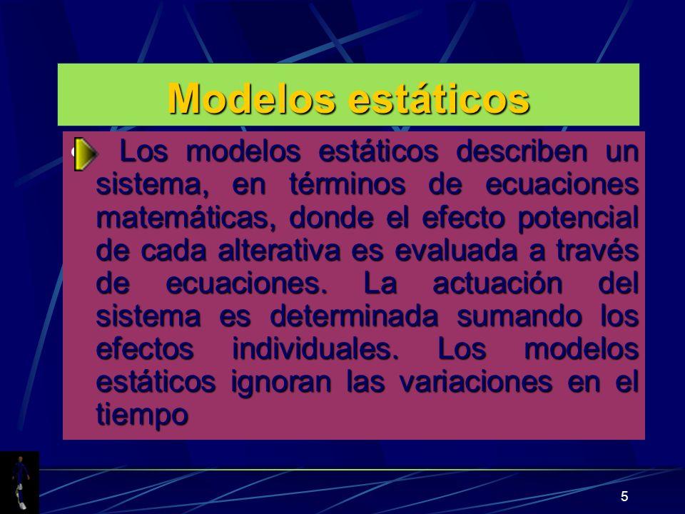 5 Modelos estáticos Los modelos estáticos describen un sistema, en términos de ecuaciones matemáticas, donde el efecto potencial de cada alterativa es evaluada a través de ecuaciones.