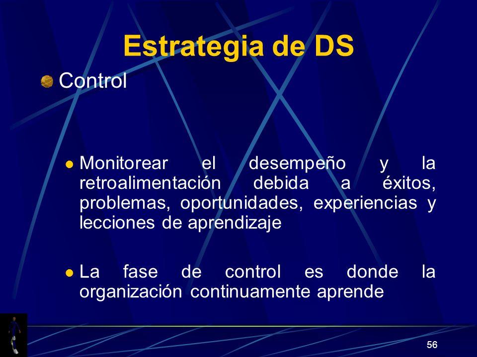 56 Estrategia de DS Control Monitorear el desempeño y la retroalimentación debida a éxitos, problemas, oportunidades, experiencias y lecciones de aprendizaje La fase de control es donde la organización continuamente aprende
