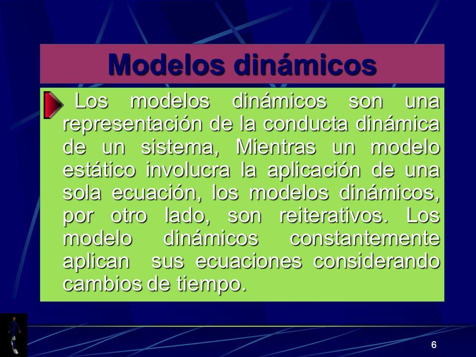 6 Modelos dinámicos Los modelos dinámicos son una representación de la conducta dinámica de un sistema, Mientras un modelo estático involucra la aplicación de una sola ecuación, los modelos dinámicos, por otro lado, son reiterativos.