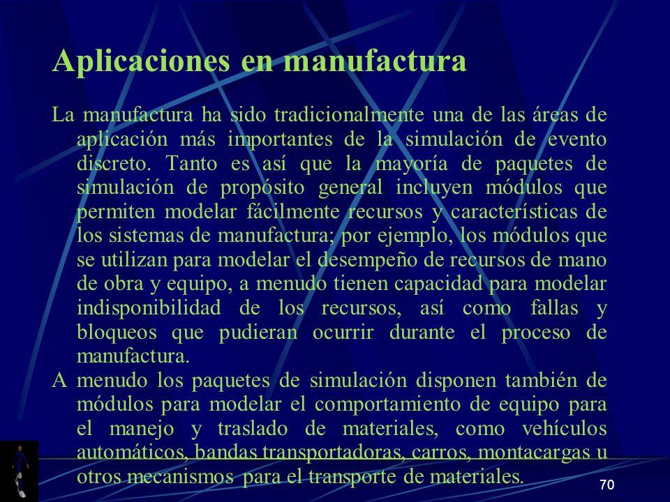 70 Aplicaciones en manufactura La manufactura ha sido tradicionalmente una de las áreas de aplicación más importantes de la simulación de evento discreto.