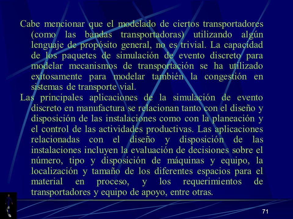 71 Cabe mencionar que el modelado de ciertos transportadores (como las bandas transportadoras) utilizando algún lenguaje de propósito general, no es trivial.