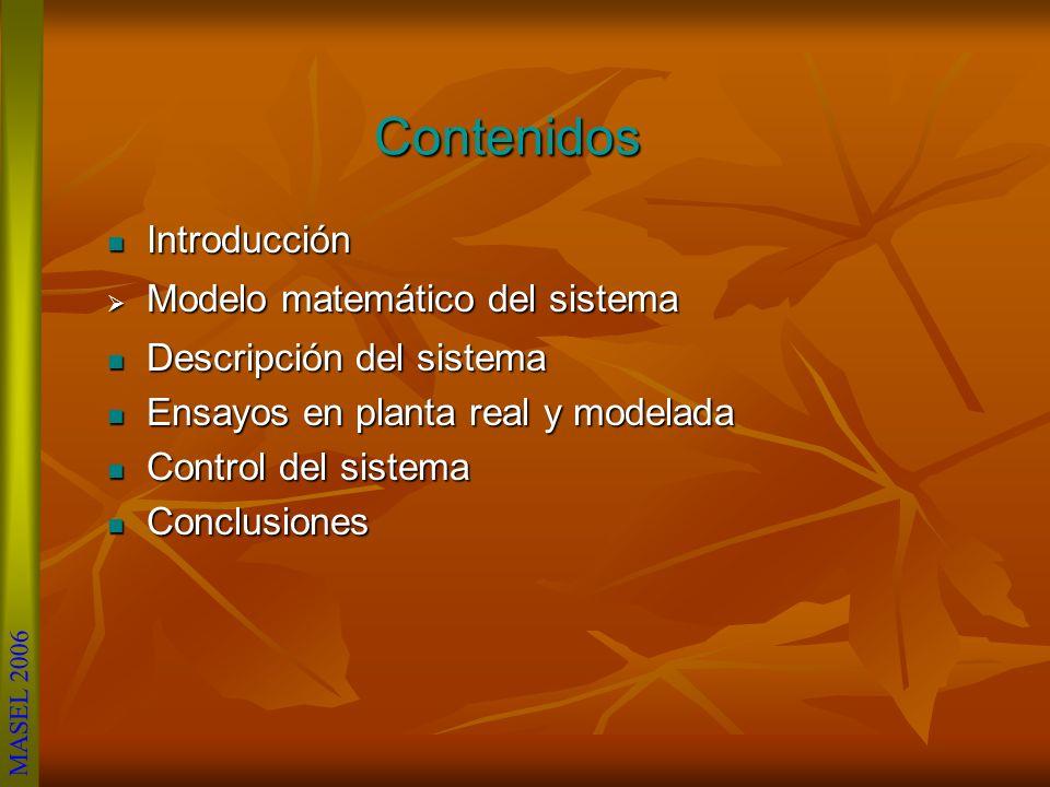 Contenidos Introducción Introducción Modelo matemático del sistema Modelo matemático del sistema Descripción del sistema Descripción del sistema Ensayos en planta real y modelada Ensayos en planta real y modelada Control del sistema Control del sistema Conclusiones Conclusiones