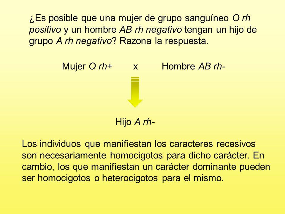 Problema 7 El grupo sanguíneo en el hombre viene determinado por tres alelos de un gen: A y B son codominantes y O recesivo respecto a ellos. El facto