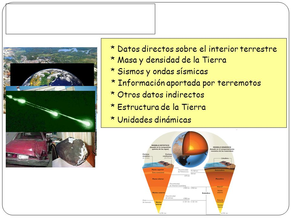 * Datos directos sobre el interior terrestre * Masa y densidad de la Tierra * Sismos y ondas sísmicas * Información aportada por terremotos * Otros da