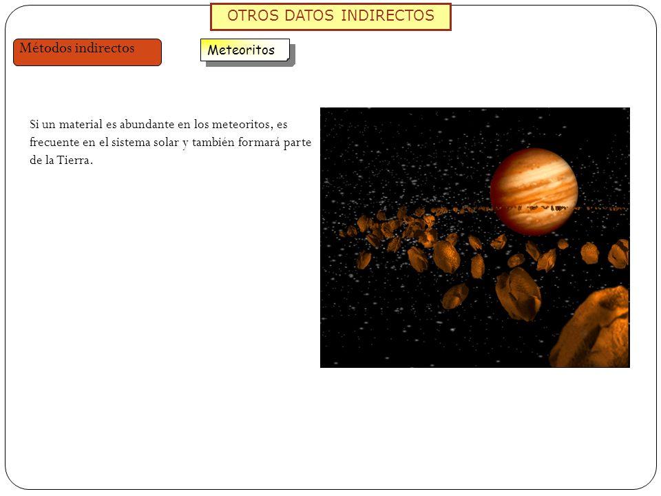 OTROS DATOS INDIRECTOS Métodos indirectos Meteoritos Si un material es abundante en los meteoritos, es frecuente en el sistema solar y también formará