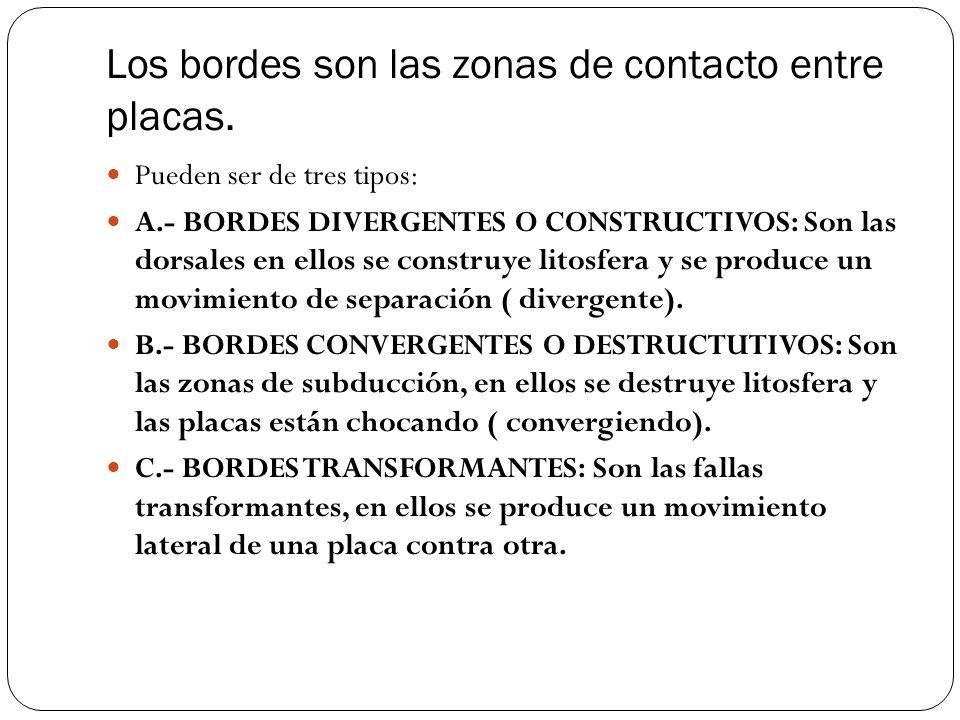 Los bordes son las zonas de contacto entre placas. Pueden ser de tres tipos: A.- BORDES DIVERGENTES O CONSTRUCTIVOS: Son las dorsales en ellos se cons
