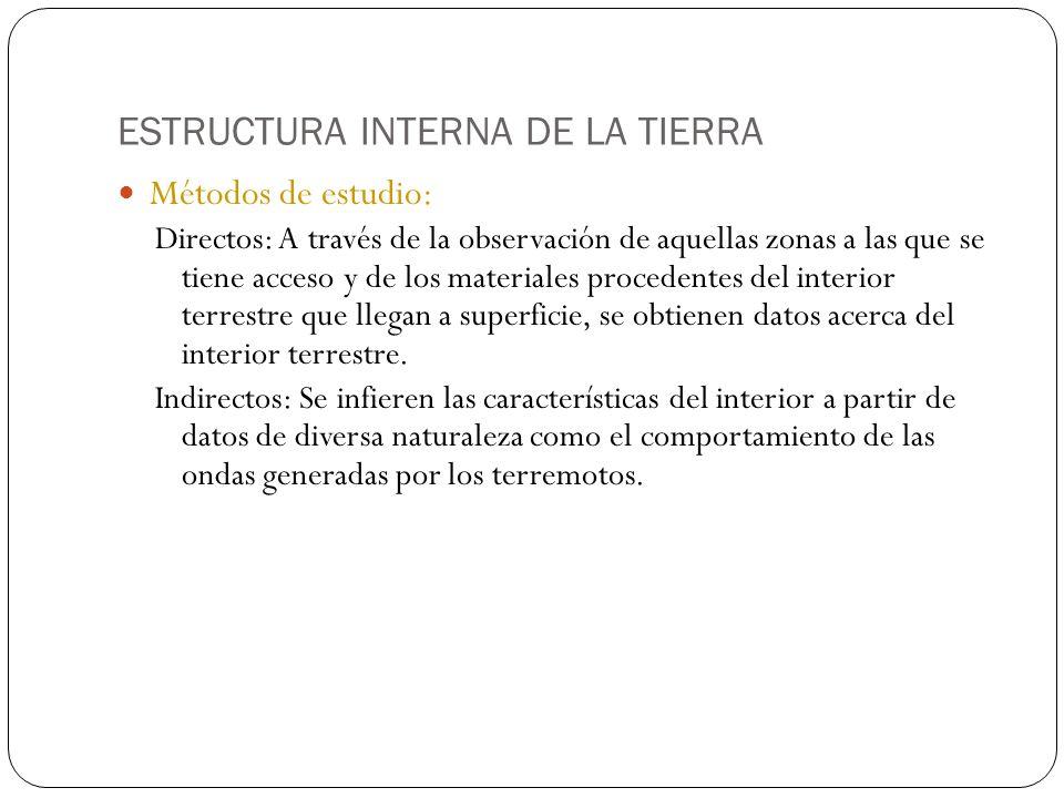 ESTRUCTURA INTERNA DE LA TIERRA Métodos de estudio: Directos: A través de la observación de aquellas zonas a las que se tiene acceso y de los material