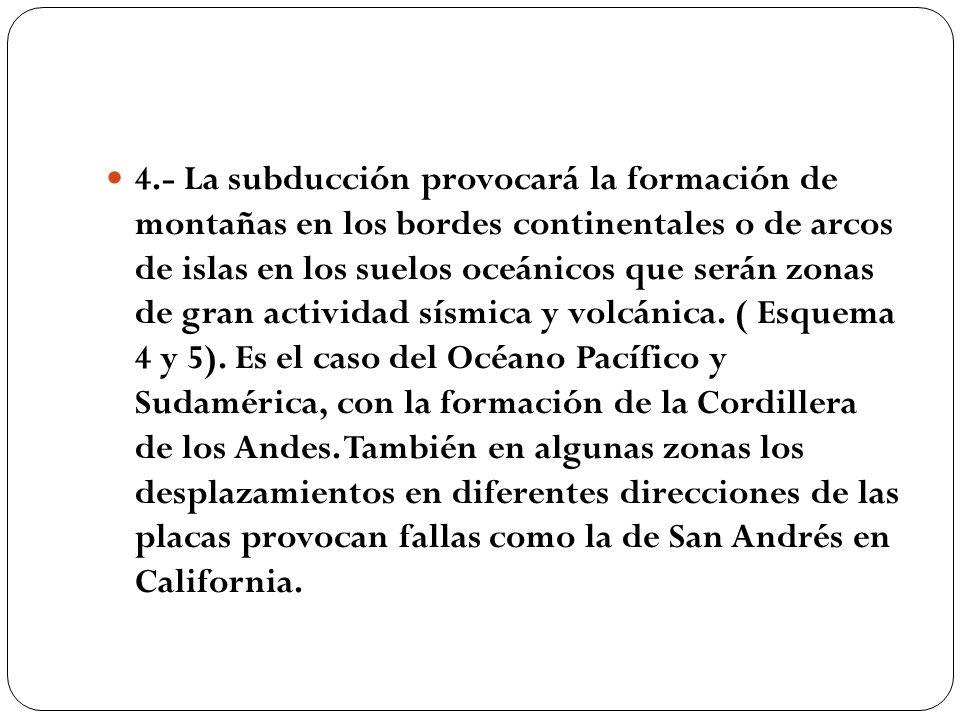 4.- La subducción provocará la formación de montañas en los bordes continentales o de arcos de islas en los suelos oceánicos que serán zonas de gran a