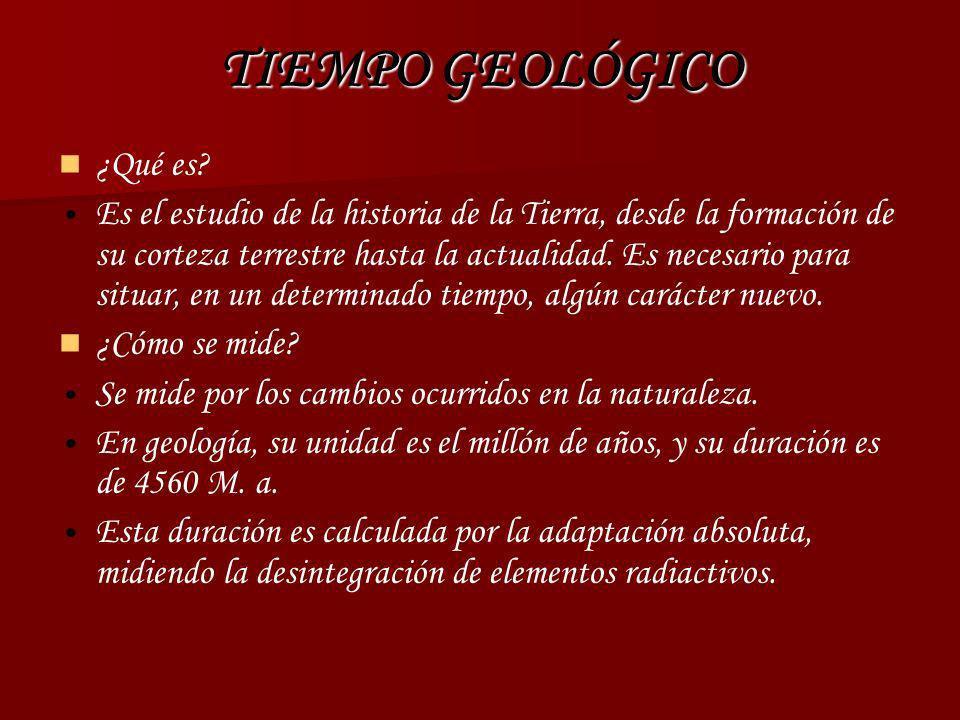 TIEMPO GEOLÓGICO ¿Qué es? Es el estudio de la historia de la Tierra, desde la formación de su corteza terrestre hasta la actualidad. Es necesario para