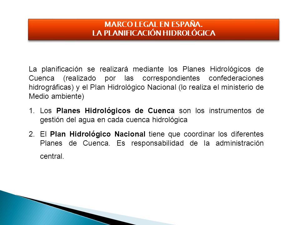La planificación se realizará mediante los Planes Hidrológicos de Cuenca (realizado por las correspondientes confederaciones hidrográficas) y el Plan