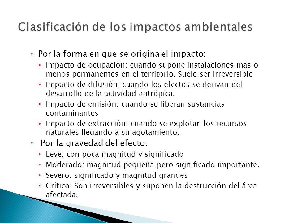 Impacto ambiental es cualquier alteración del medio ambiente ocasionada por la acción humana. Características de los impactos: 1. La magnitud: amplitu