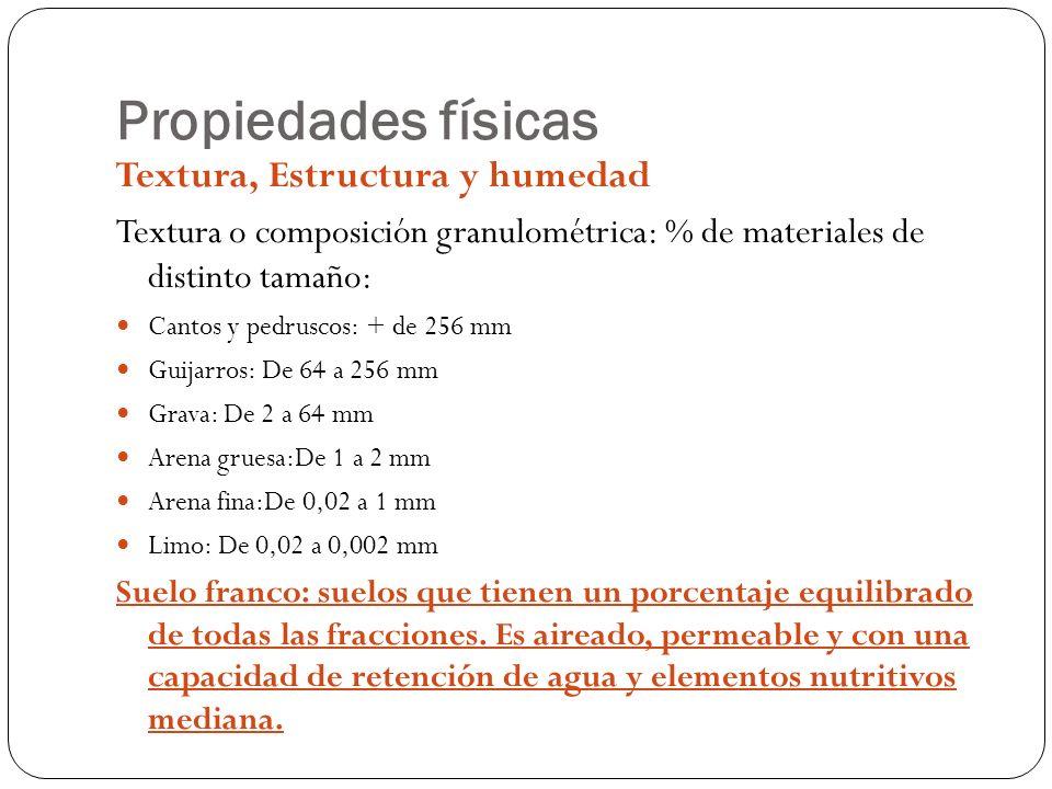 Propiedades físicas Textura, Estructura y humedad Textura o composición granulométrica: % de materiales de distinto tamaño: Cantos y pedruscos: + de 2