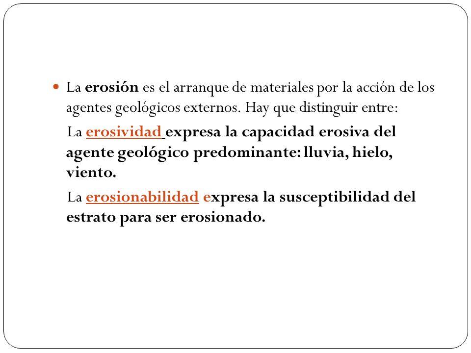 La erosión es el arranque de materiales por la acción de los agentes geológicos externos. Hay que distinguir entre: La erosividad expresa la capacidad