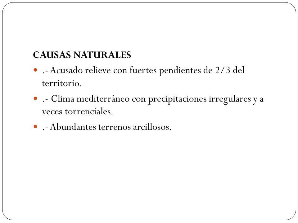CAUSAS NATURALES.- Acusado relieve con fuertes pendientes de 2/3 del territorio..- Clima mediterráneo con precipitaciones irregulares y a veces torren