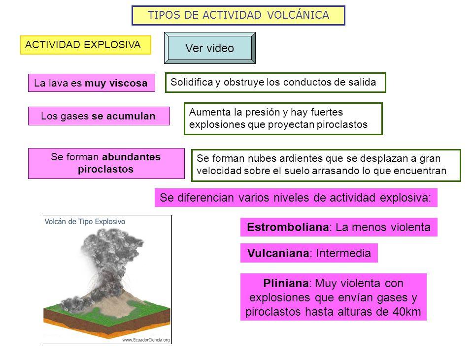 TIPOS DE ACTIVIDAD VOLCÁNICA ACTIVIDAD EXPLOSIVA Ver video Solidifica y obstruye los conductos de salida La lava es muy viscosa Aumenta la presión y h
