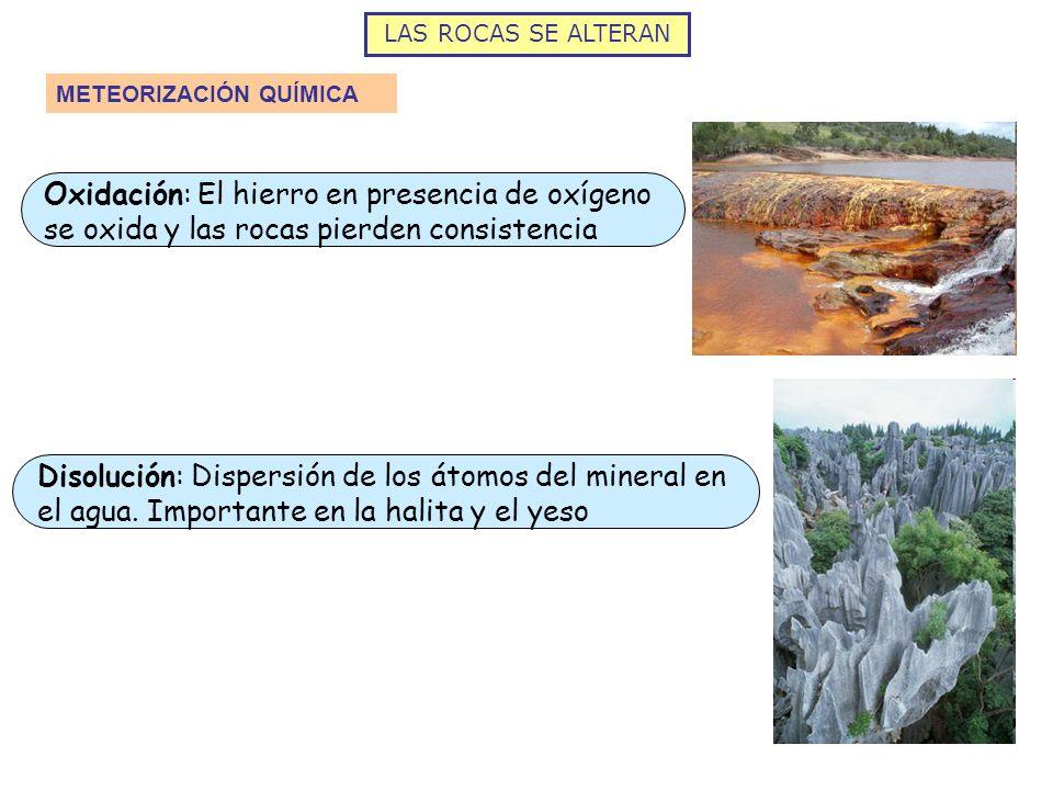LAS ROCAS SE ALTERAN METEORIZACIÓN QUÍMICA Oxidación: El hierro en presencia de oxígeno se oxida y las rocas pierden consistencia Disolución: Dispersi