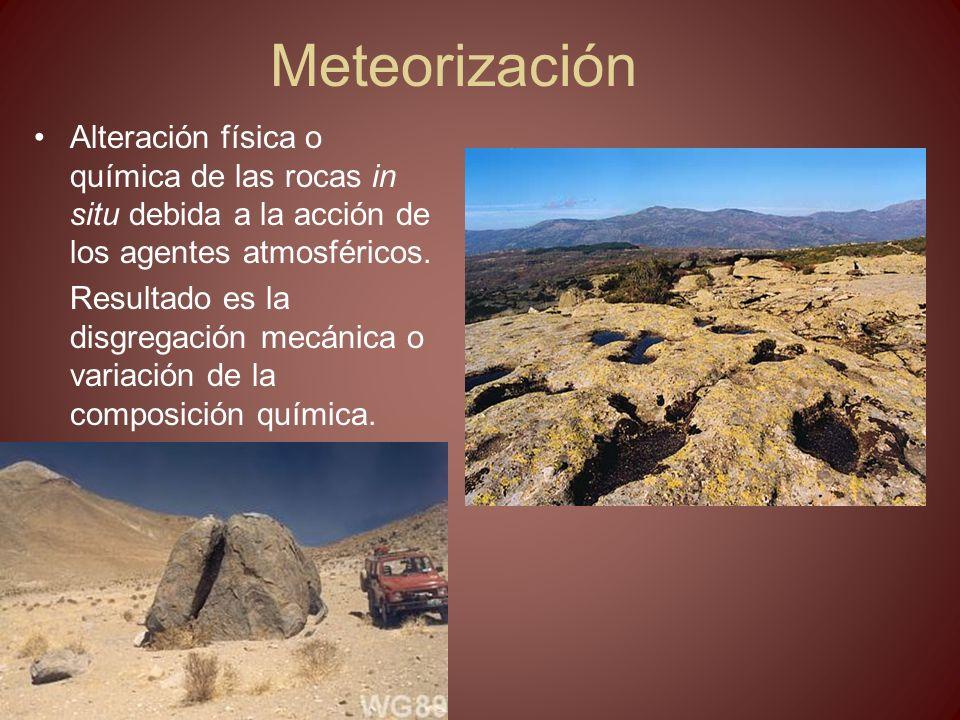 METEORIZACIÓN Depende de: –Clima (tª y precipitaciones) –Tipo de roca: porosidad, composición química y diaclasado.