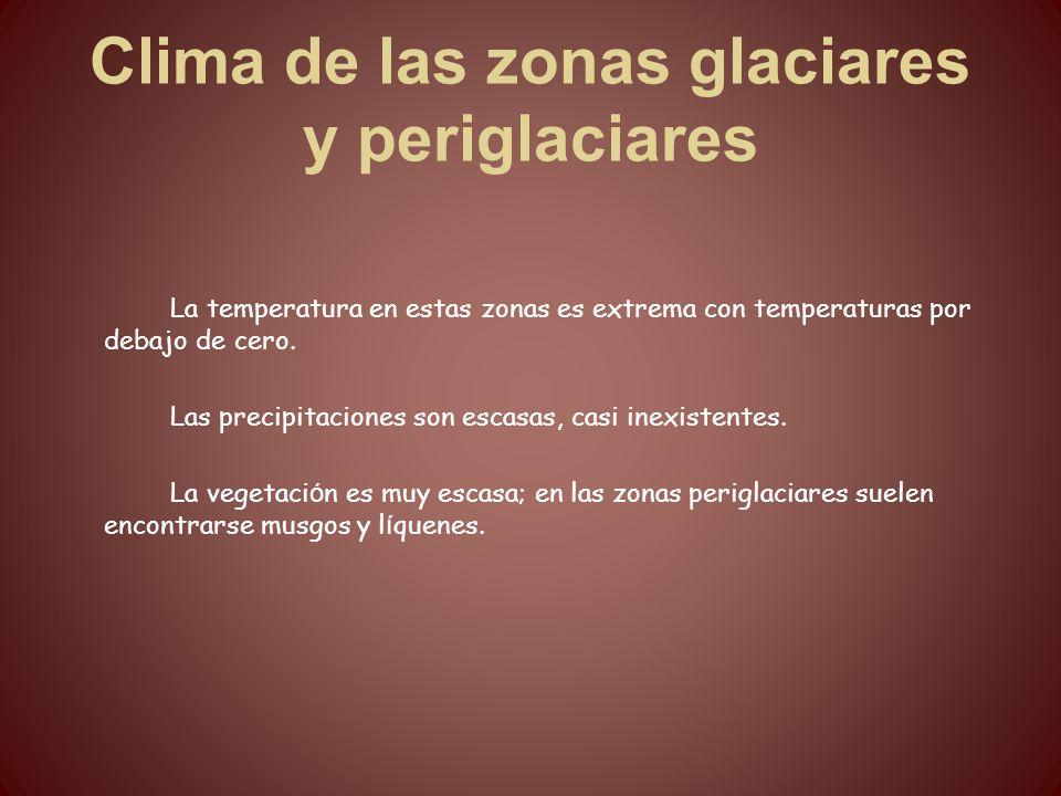 Clima de las zonas glaciares y periglaciares La temperatura en estas zonas es extrema con temperaturas por debajo de cero. Las precipitaciones son esc