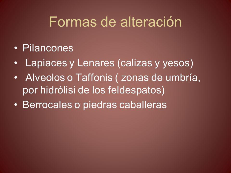 Formas de alteración Pilancones Lapiaces y Lenares (calizas y yesos) Alveolos o Taffonis ( zonas de umbría, por hidrólisi de los feldespatos) Berrocal