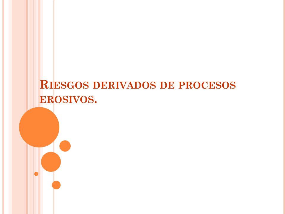 R IESGOS Directos: Población o infraestructuras situadas al pie de la ladera o en la cabecera.