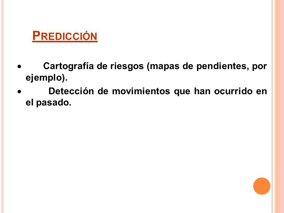 R IESGOS Directos: Población o infraestructuras situadas al pie de la ladera o en la cabecera. Indirectos: - Rotura o desbordamiento de presas. - Inun