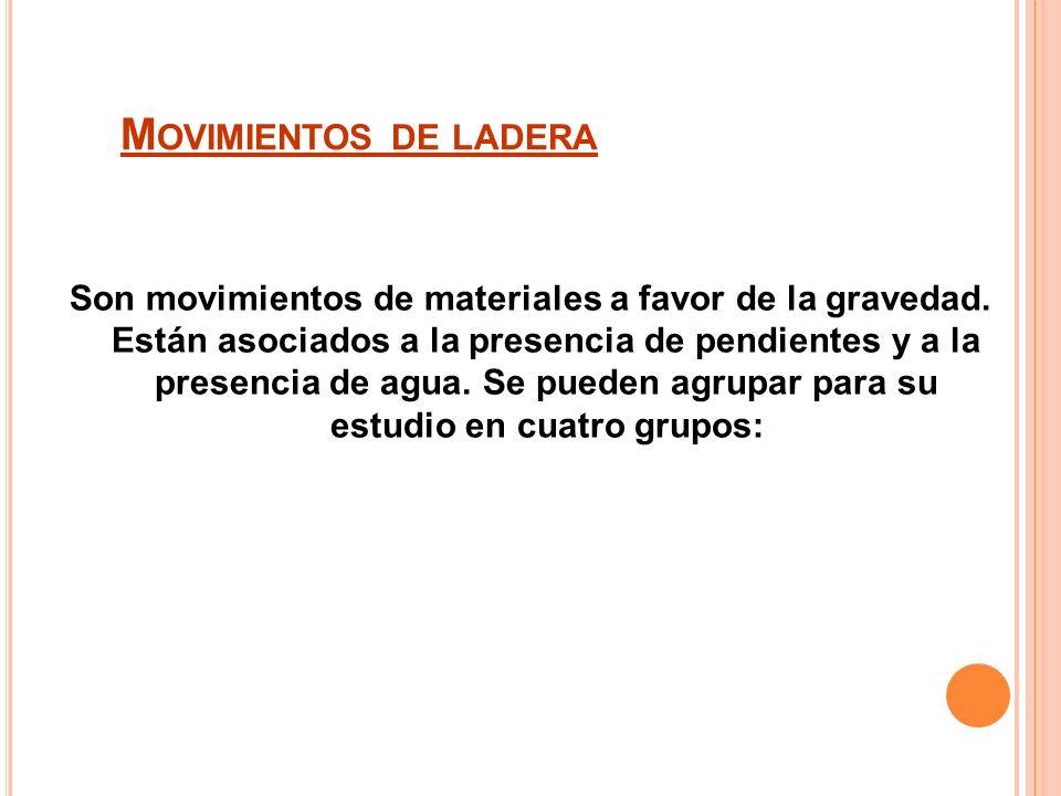 M OVIMIENTOS DE LADERA Son movimientos de materiales a favor de la gravedad.