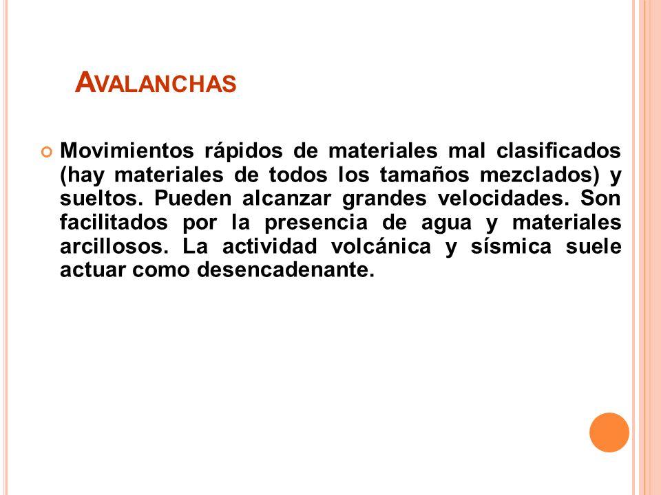 A VALANCHAS Movimientos rápidos de materiales mal clasificados (hay materiales de todos los tamaños mezclados) y sueltos.