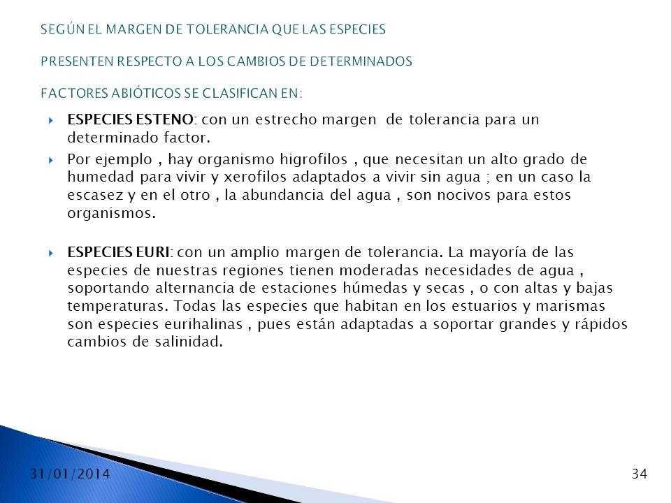 31/01/201434 SEGÚN EL MARGEN DE TOLERANCIA QUE LAS ESPECIES PRESENTEN RESPECTO A LOS CAMBIOS DE DETERMINADOS FACTORES ABIÓTICOS SE CLASIFICAN EN: ESPE