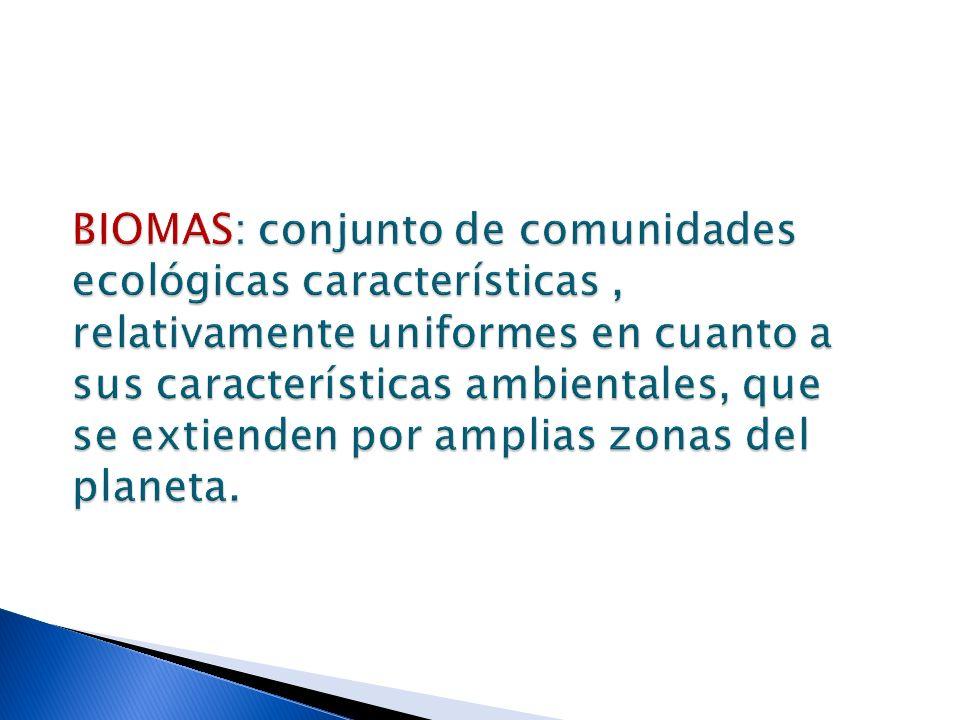 BIOMAS: conjunto de comunidades ecológicas características, relativamente uniformes en cuanto a sus características ambientales, que se extienden por