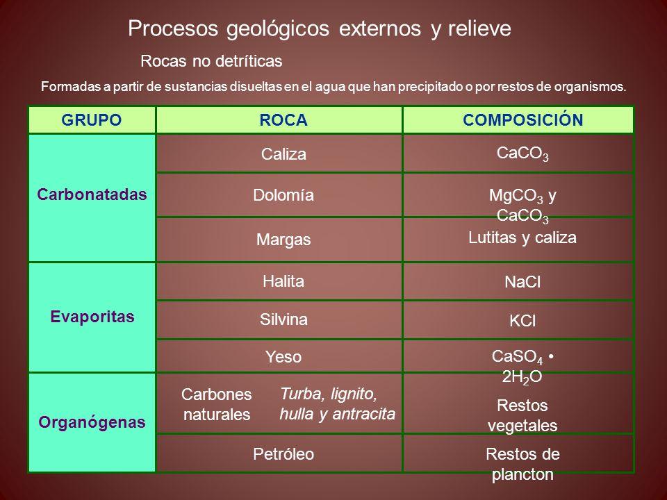 Procesos geológicos externos y relieve Rocas no detríticas Formadas a partir de sustancias disueltas en el agua que han precipitado o por restos de or