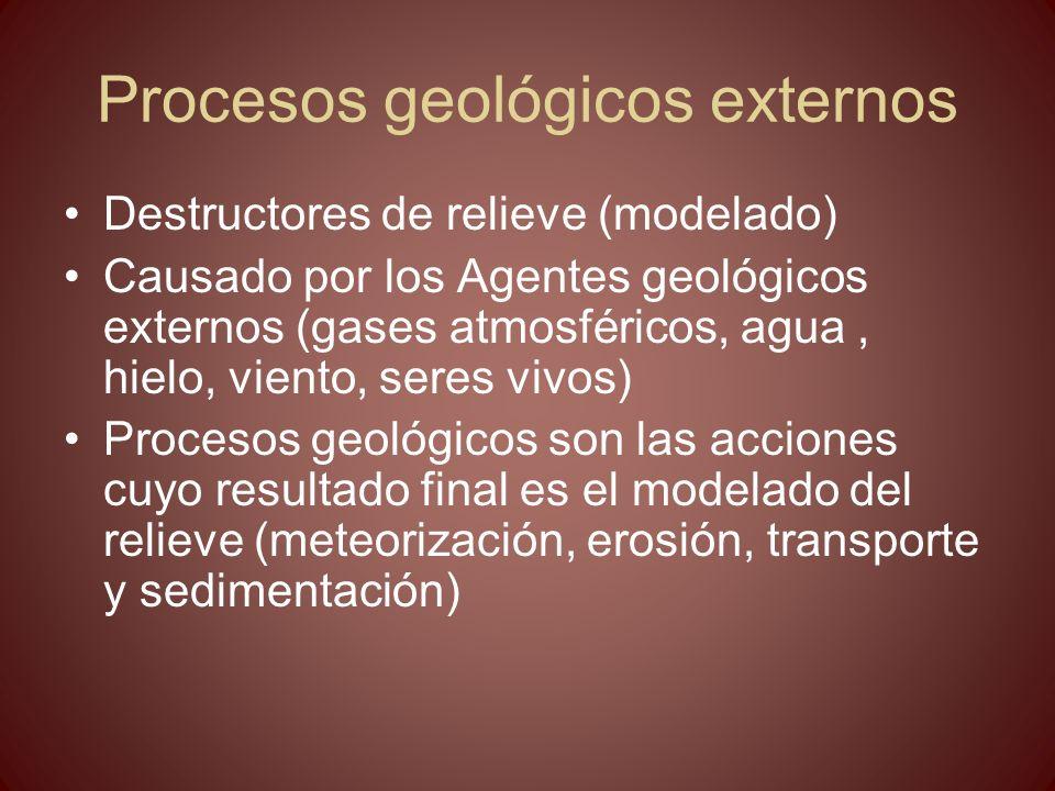 Procesos geológicos externos y relieve Modelado del relieve PROCESOS GEOLÓGICOS EXTERNOS Meteorización Erosión Transporte EL MODELADO DEL RELIEVE Sedimentació n AGENTES GEOLÓGICOS EXTERNOS ENERGÍA SOLAR Está causado por Son Llevados a cabo por Aguas superficiales Hielo Vient o Mar Cuyo motor es la Como