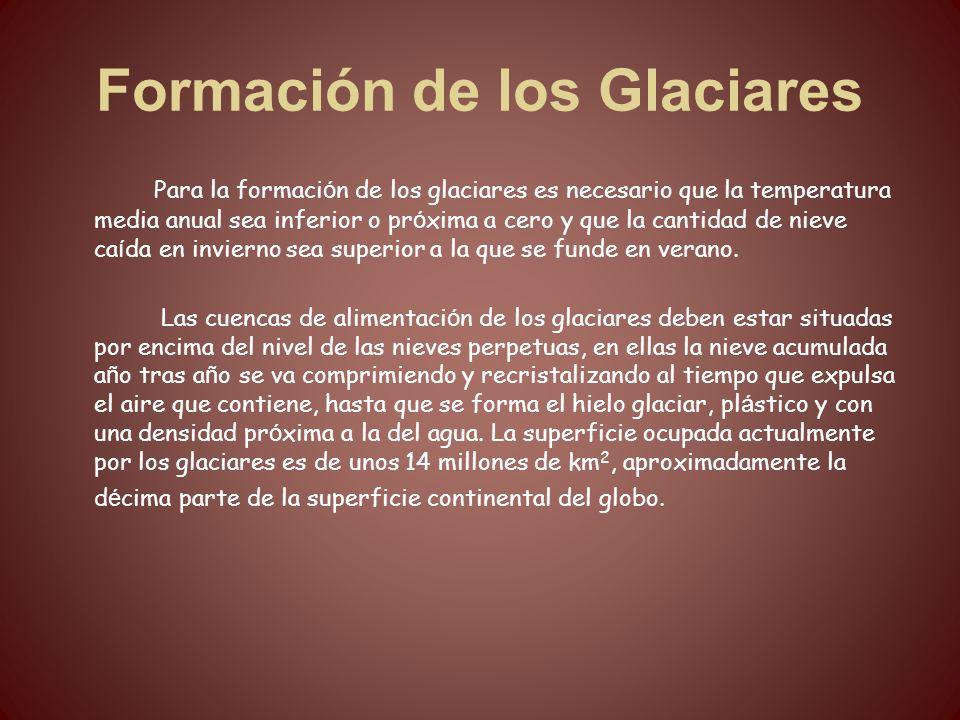 Formación de los Glaciares Para la formaci ó n de los glaciares es necesario que la temperatura media anual sea inferior o pr ó xima a cero y que la c