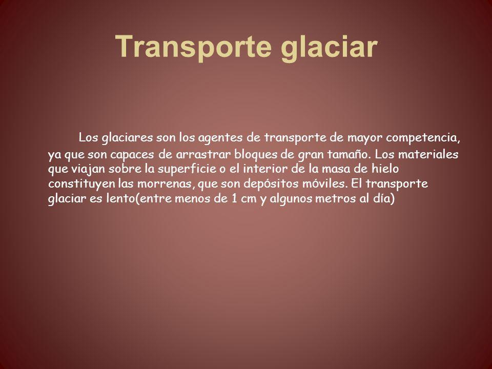 Transporte glaciar Los glaciares son los agentes de transporte de mayor competencia, ya que son capaces de arrastrar bloques de gran tama ñ o. Los mat