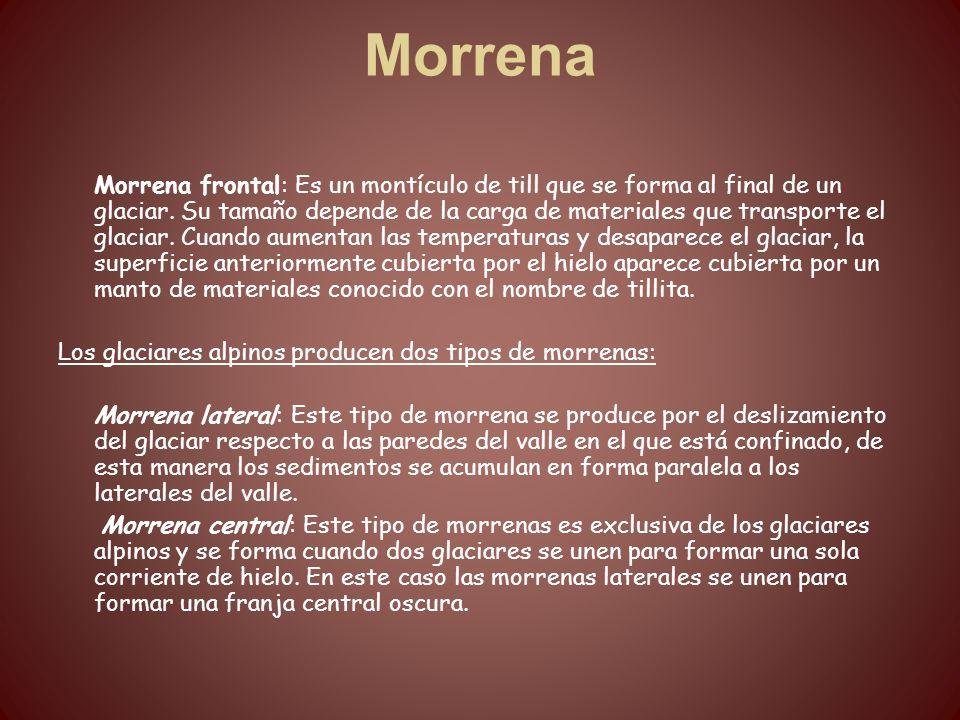 Morrena Morrena frontal: Es un montículo de till que se forma al final de un glaciar. Su tamaño depende de la carga de materiales que transporte el gl