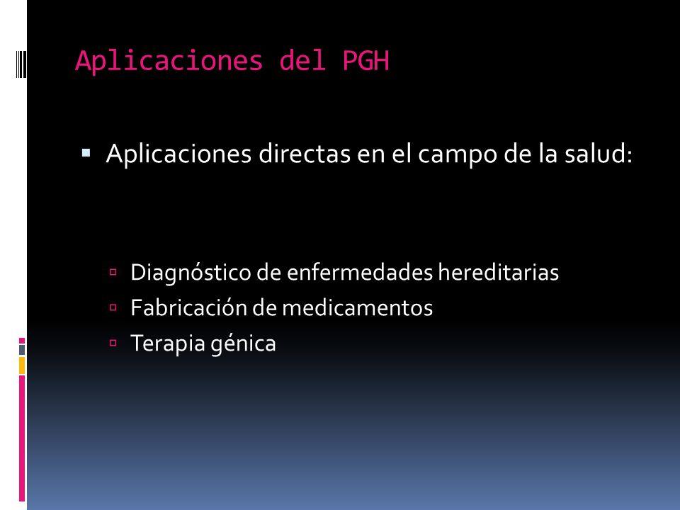 Aplicaciones del PGH Aplicaciones directas en el campo de la salud: Diagnóstico de enfermedades hereditarias Fabricación de medicamentos Terapia génica