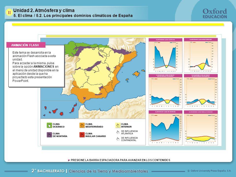 Oxford University Press España, S.A. © PRESIONE LA BARRA ESPACIADORA PARA AVANZAR EN LOS CONTENIDOS Unidad 2. Atmósfera y clima 5. El clima / 5.2. Los