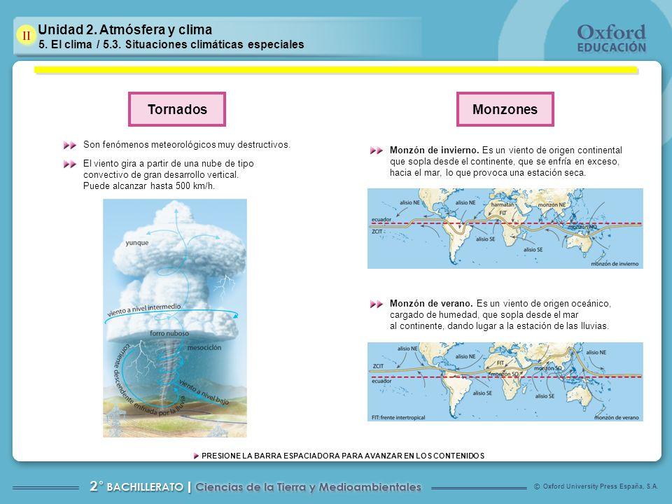 Oxford University Press España, S.A. © PRESIONE LA BARRA ESPACIADORA PARA AVANZAR EN LOS CONTENIDOS Unidad 2. Atmósfera y clima 5. El clima / 5.3. Sit