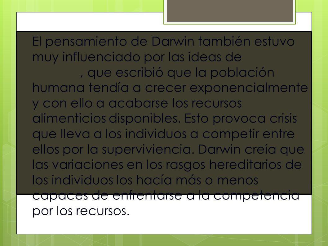 El pensamiento de Darwin también estuvo muy influenciado por las ideas de Thomas Malthus, que escribió que la población humana tendía a crecer exponen