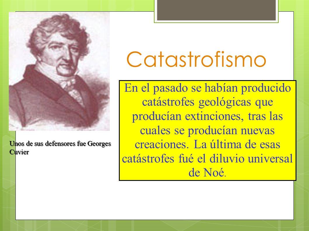 Catastrofismo En el pasado se habían producido catástrofes geológicas que producían extinciones, tras las cuales se producían nuevas creaciones. La úl