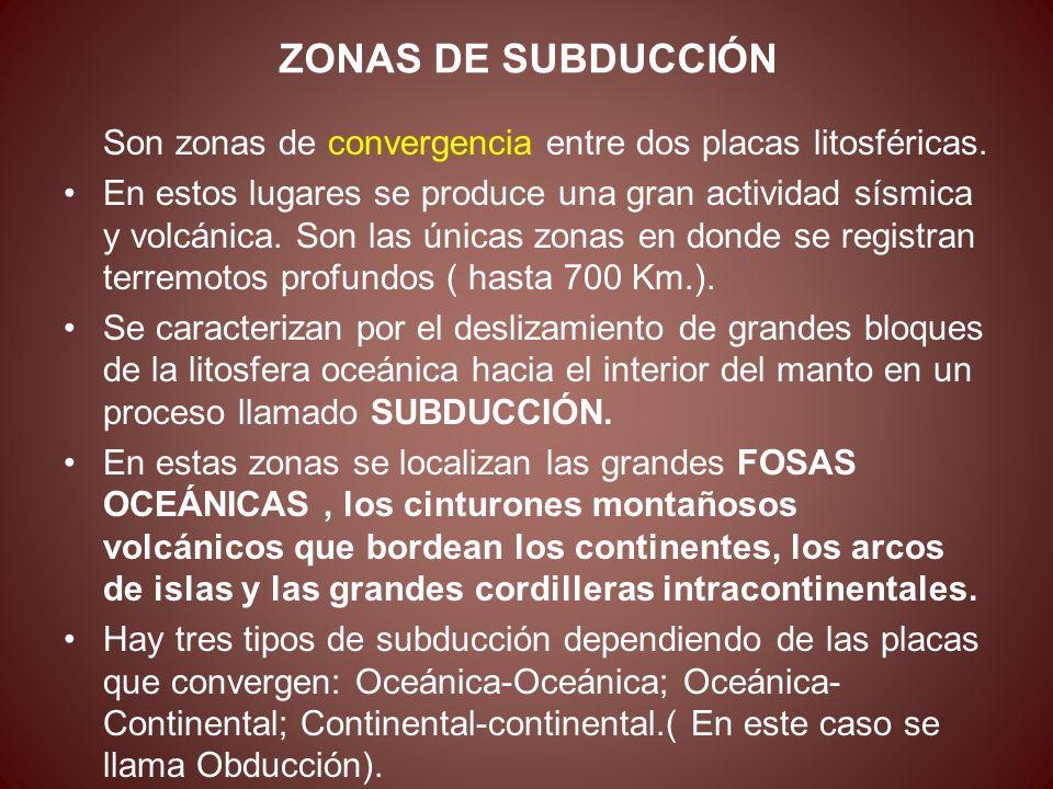 ZONAS DE SUBDUCCIÓN Son zonas de convergencia entre dos placas litosféricas. En estos lugares se produce una gran actividad sísmica y volcánica. Son l