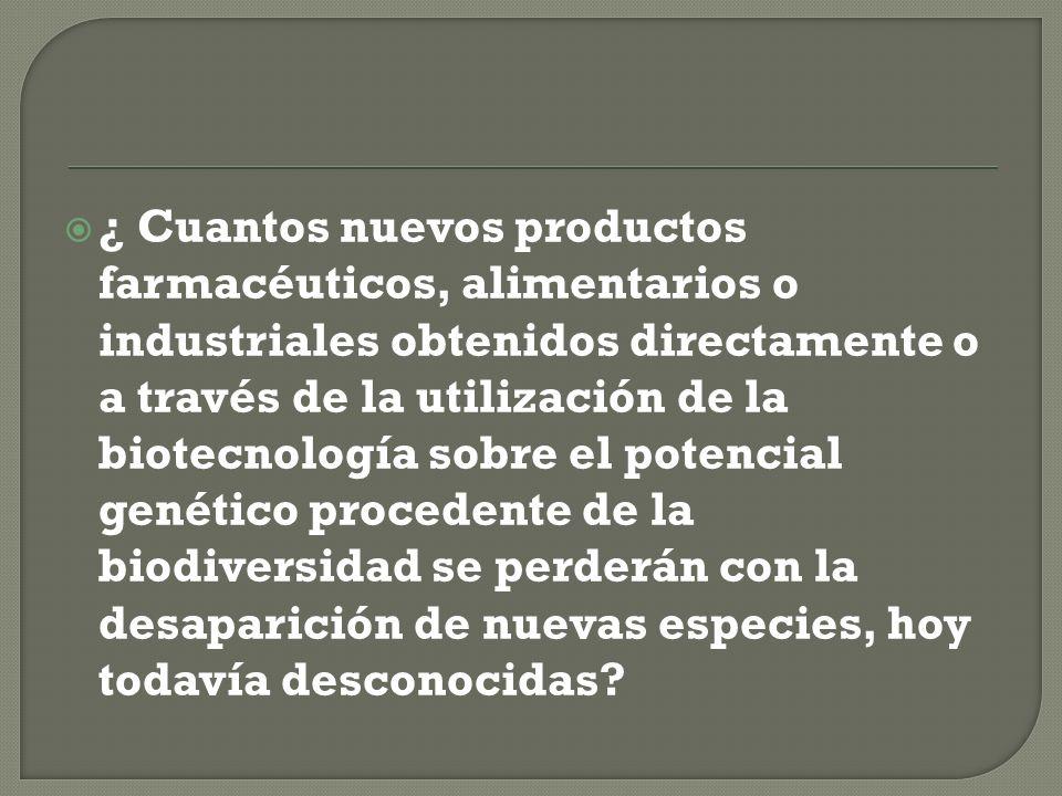 ¿ Cuantos nuevos productos farmacéuticos, alimentarios o industriales obtenidos directamente o a través de la utilización de la biotecnología sobre el