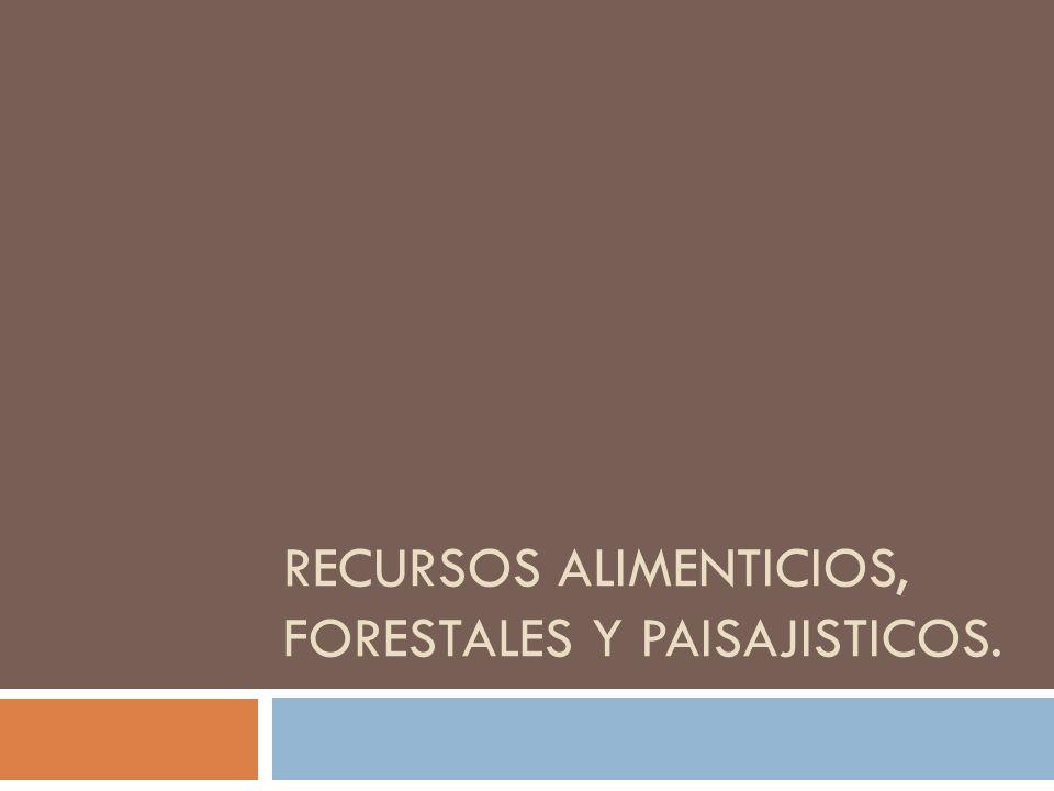 RECURSOS ALIMENTICIOS, FORESTALES Y PAISAJISTICOS.