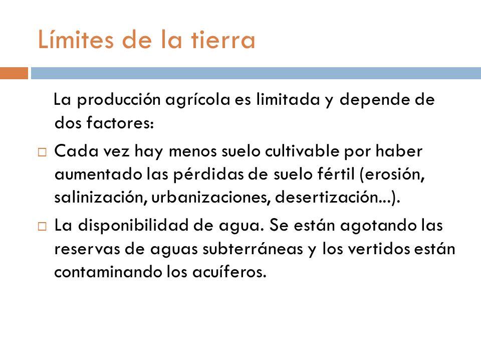 Límites de la tierra La producción agrícola es limitada y depende de dos factores: Cada vez hay menos suelo cultivable por haber aumentado las pérdidas de suelo fértil (erosión, salinización, urbanizaciones, desertización...).