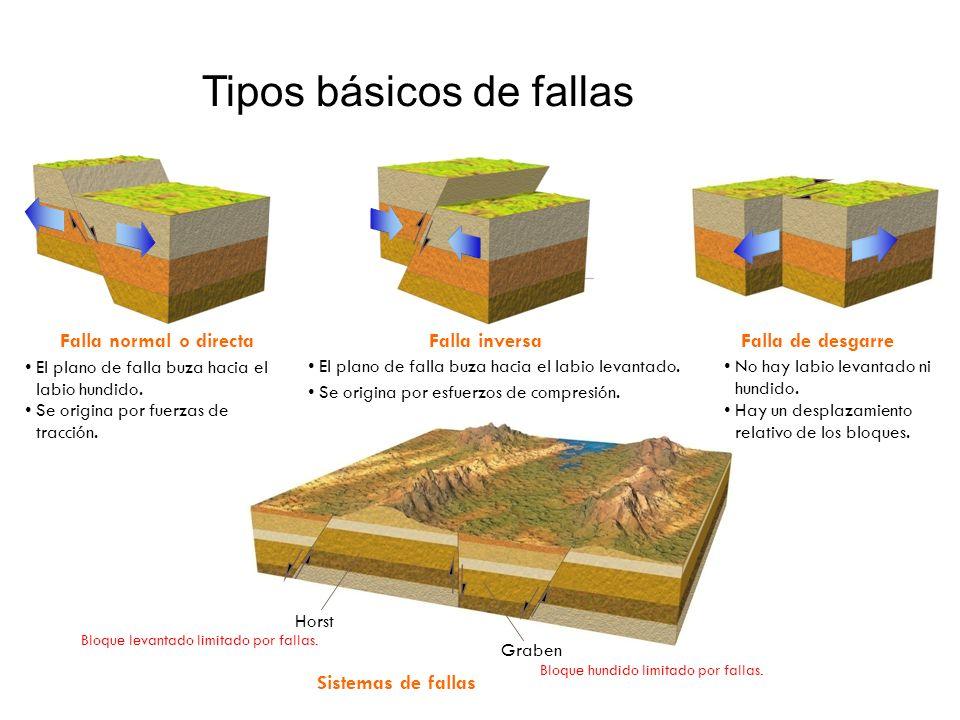 Tipos básicos de fallas Falla normal o directaFalla inversaFalla de desgarre Sistemas de fallas El plano de falla buza hacia el labio hundido. El plan