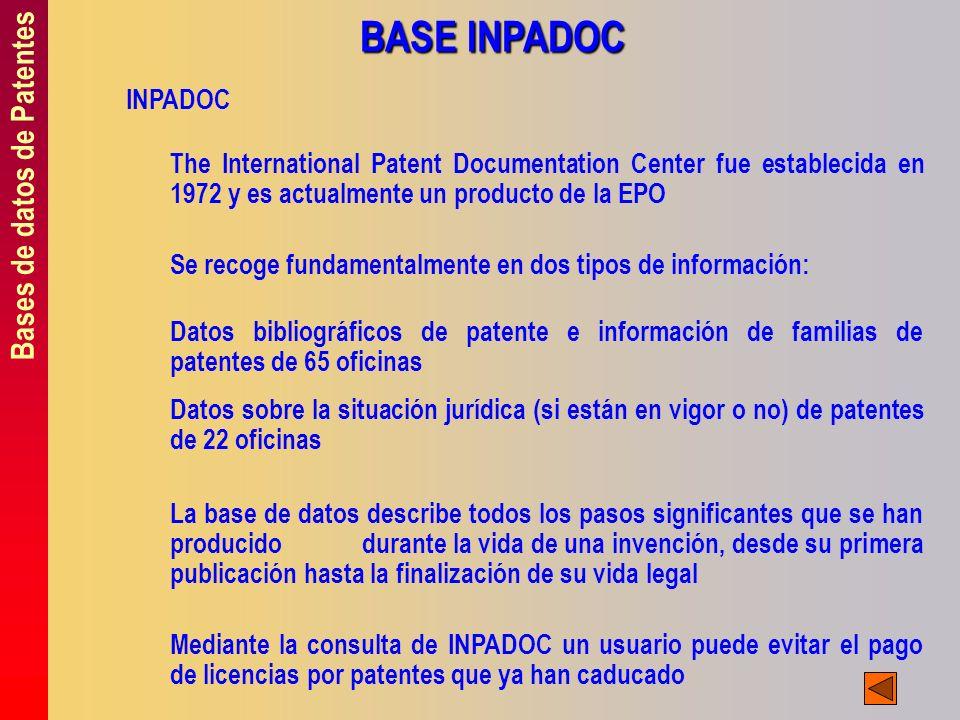 Bases de datos de Patentes BASE INPADOC INPADOC The International Patent Documentation Center fue establecida en 1972 y es actualmente un producto de