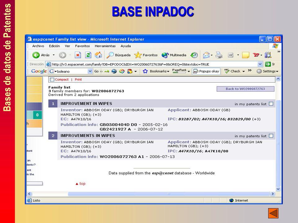 Bases de datos de Patentes BASE INPADOC