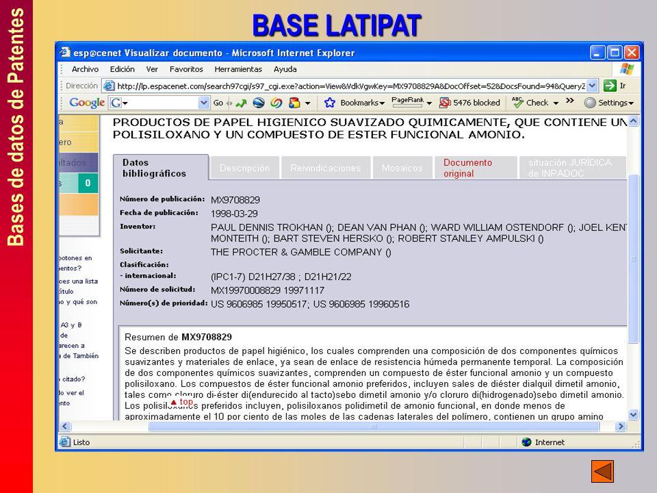 Bases de datos de Patentes BASE LATIPAT