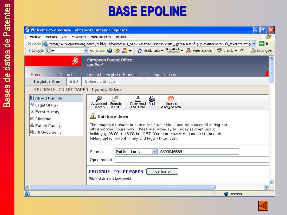 Bases de datos de Patentes BASE EPOLINE