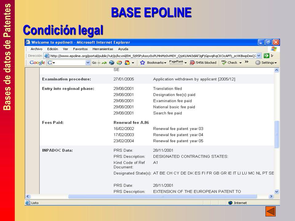Bases de datos de Patentes BASE EPOLINE Condición legal